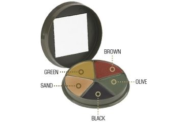 Camcon Camouflage Cream Compact, 5 Color,Blk/Brown/Olive/Green/Sand CC61350