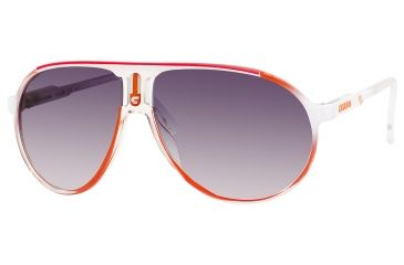 Carrera Champion/C/S Sunglasses CHAMPCS-0KYP-JJ-6212 - White Orange Shaded Frame, Gray Gradient Lenses, Lens Diameter 62mm, Distance Between Lenses 12mm