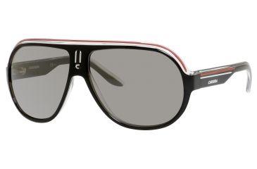 Carrera Speedway/S Sunglasses SPEEDS-0YZZ-T4-6312 - Black Crystal White Red Frame, Black Mirror Lenses, Lens Diameter 63mm, Distance Between Lenses 12mm