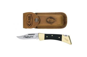 Case 2159L SS Hammerhead w/ Leather Sheath  Skillfully Etched, Glazed BladeFolding Knife, Smooth Jet-Black Synthetic Handle, 5 00177