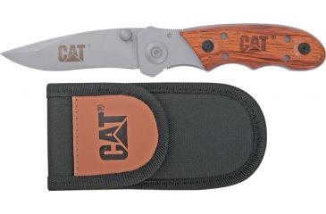 Caterpillar Linerlock Folding Knife,StainlessDrop Point, Rosewood Inlay Handle CAT91
