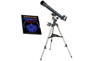 Celestron AstroMaster 70 EQ Telescope 21062 with Sky Maps Chart 93722