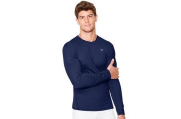 136143b8d Champion Mens Competitor Double Dry Long Sleeve Compression T-Shirt, Navy,  Extra Large