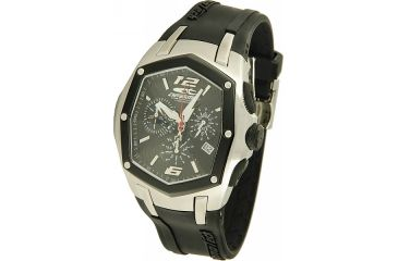Chronotech Deluxe Sporty Men's Watch - Black Band, Silver/Black Face Ct.7931m/02