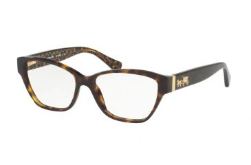 b8f774499f Coach HC6088 Single Vision Prescription Eyeglasses 5394-54 - Dark Tort Dark  Tort Gold
