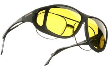 Cocoons Aviator Over-Glasses Sunglasses, XL Black Frame, Yellow Lenses C202Y