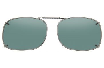 Cocoons Rectangle 1 Clip-On Sunglasses, Size 54 Gunmetal Frame, Gray Lenses L408G
