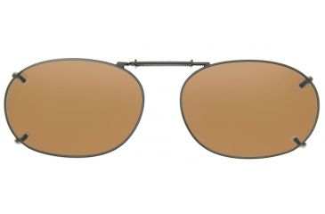 Cocoons Rectangle 2 Clip-On Sunglasses, Size 52 Gunmetal Frame, Amber Lenses L418A