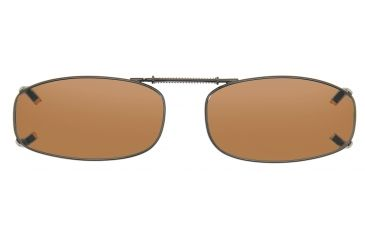 Cocoons Rectangle 4 Clip-On Sunglasses, Size 48 Gunmetal Frame, Amber Lenses L4108A