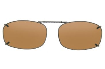Cocoons Rectangle 5 Clip-On Sunglasses, Size 48 Gunmetal Frame, Amber Lenses L4128A