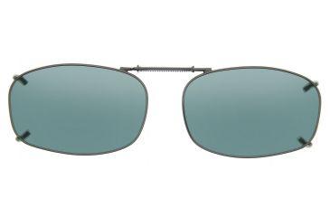 Cocoons Rectangle 5 Clip-On Sunglasses, Size 48 Gunmetal Frame, Gray Lenses L4128G