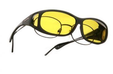 Cocoons Mini Slim Over-Glasses Sunglasses, MS Black Frame, Yellow Lenses C412Y