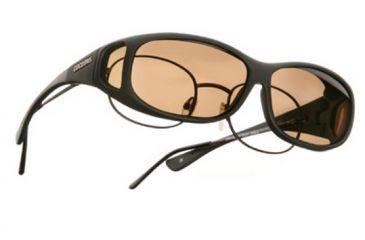 Cocoons Mini Slim Over-the-Glasses Sunglasses, MS Black Frame, Amber Lenses C412A