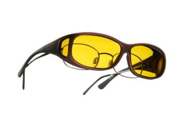 Cocoons Mini Slim Over-Glasses Sunglasses, MS Burgundy Frame, Yellow Lenses C419Y