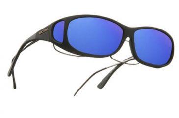 Cocoons Mini Slim Over-Glasses Sunglasses, MS Black Frame, Blue Mirror Lenses C412M