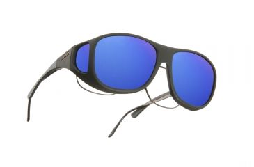 Cocoons Pilot Over-Glasses Sunglasses, L Black Frame, Blue Mirror Lenses C302M