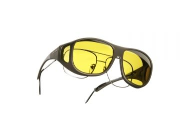 Cocoons Pilot Over-Glasses Sunglasses, L Sand Frame, Yellow Lenses C305Y