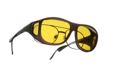 Cocoons Pilot Over-Glasses Sunglasses, L Burgundy Frame, Yellow Lenses C309Y