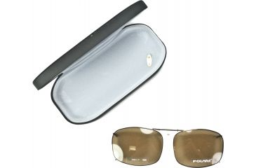 Cocoons Rectangle 7 Clip-On Sunglasses, Size 52 Bronze Frame, Amber Lenses L4159A