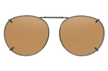Cocoons Round 2 Clip-On Sunglasses, Size 50 Bronze Frame, Amber Lenses L509A