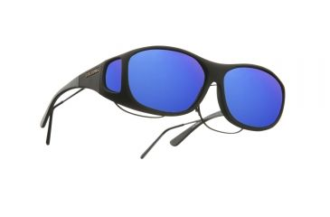 Cocoons SlimLine Over-Glasses Sunglasses, M Black Frame, Blue Mirror Lenses C402M
