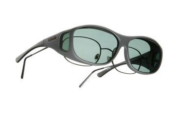 Cocoons Slim Line Over-Glasses Sunglasses, M Slate Frame, Gray Lenses C408G