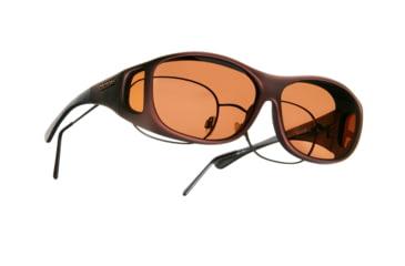 Cocoons Slim Line Over-Glasses Sunglasses, M Burgundy Frame, Copper Lenses C409C
