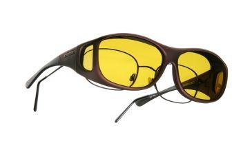Cocoons Slim Line OveRx Sunglasses, M Burgundy Frame, Yellow Lenses C409Y