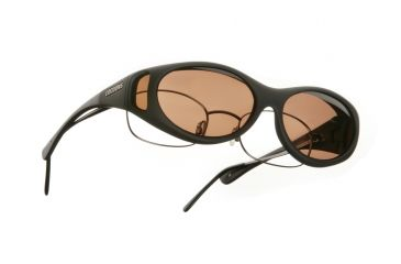 Cocoons Stream Line Over-Glasses Sunglasses, SM Black Frame, Copper Lenses C602C