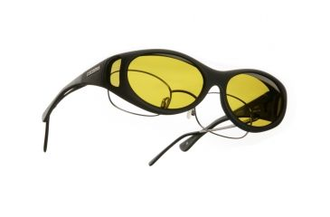 Cocoons Streamline Over-Glasses Sunglasses, SM Black Frame, Yellow Lenses C602Y