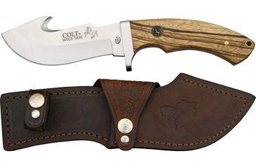 Colt Serengeti Skinner Fixed Blade Knife, 4.75in, Guthook Blade, Zebra Wood Handle CT7Z