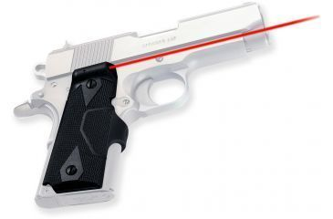 Crimson Trace Pistol Lasergrips, 633nm, pt5in, 50 ft, 5mw, Black LG404