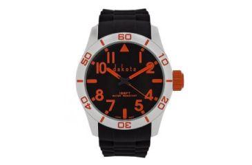 Dakota Watches Aluminum Diver, Black/Orange Dial, Aluminum Case,Black Strap, NO 4792-6