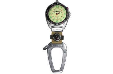 Dakota Watches Big Face Clip, Cream EL Military Dial, Silver Case, Compass 8853-1