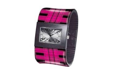 Dakota Watches Fashion Cuff, Silver Dial, Pink Plaid Cuff 2932-1