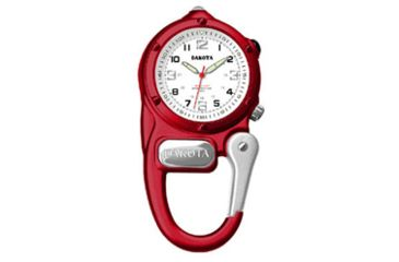 Dakota Watches Mini Clip Microlight, White Military Dial,  Red Case 3879-2