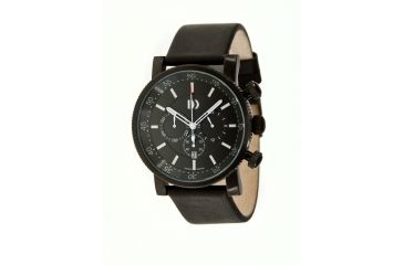 Danish Design Iq13q787 Chronograph Mens Watch - Black Leather Band, Black SS Case, Black Face