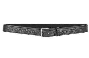 Desantis Blakc Basketweave Belt with Nickel Buckle