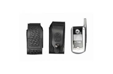 DeSantis Black - Plain - Leather Duty Cellphone Holster U77BJG1Z4