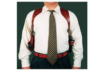DeSantis New York Undercover Shoulder Holster - Left, Tan w/ Double Mag Pouch 11DTB86G0 - BERETTA 92 SERIES, 92 COMPACT, 92 & 96 CENTURION