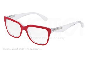 Dolce&Gabbana 3 LAYERS DG3193 Progressive Prescription Eyeglasses 2798-52 - Red/white Pearl/cryst Frame