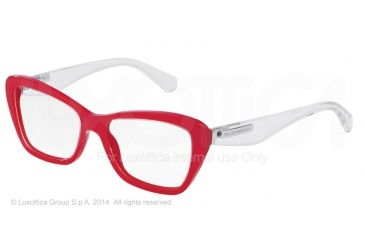 Dolce&Gabbana 3 LAYERS DG3194 Bifocal Prescription Eyeglasses 2775-52 - Top Crystal On Pearl Red Frame