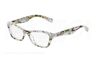 Dolce&Gabbana ALMOND FLOWERS DG3202 Single Vision Prescription Eyeglasses 2843-47 - Aqua Peach Flowers Frame