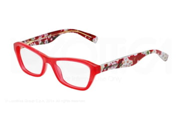 Dolce&Gabbana ALMOND FLOWERS DG3202 Single Vision Prescription Eyeglasses 2850-47 - Opal Red Frame