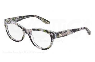 affe4dc990 Dolce Gabbana ALMOND FLOWERS DG3203 Single Vision Prescription Eyeglasses  2842-51 - Black Peach Flowers Frame