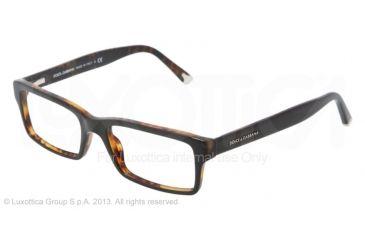 Dolce&Gabbana DG3123 Single Vision Prescription Eyeglasses 2517-5217 - Top Black / Havana Demo Lens Frame