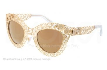 Dolce&Gabbana FILIGRANA DG2134 Sunglasses 02/F9-47 - Antique Gold Frame, Brown Mirror Gold Lenses