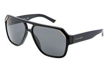Dolce&Gabbana ICONIC EVOLUTION DG4138 Sunglasses 501/87-6214 - Shiny Black Frame, Gray Lenses