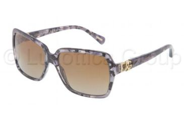 Dolce&Gabbana ICONIC LOGO DG4164P Sunglasses 2654T5-5816 - Gray Marble Frame, Polarized Brown Gradient Lenses