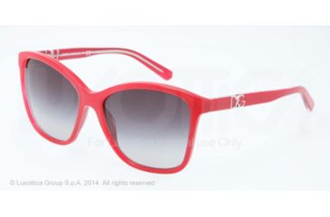 Dolce&Gabbana ICONIC LOGO DG4170P Sunglasses 27758G-57 - Top Crystal On Pearl Red Frame, Grey Gradient Lenses